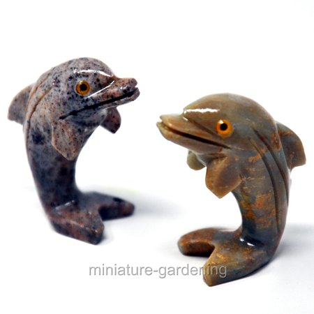 Miniature Carved Stone Dolphins, 2 Piece Set for Miniature Garden, Fairy - Miniature Stone Carving