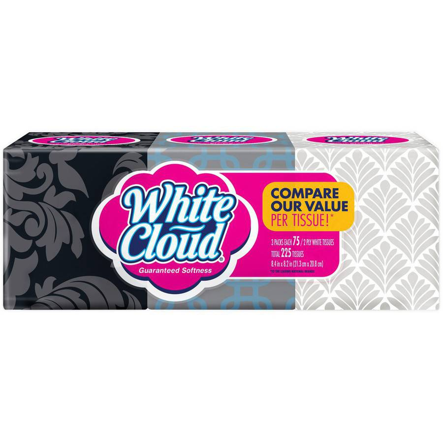 Product Title: White Cloud 3 Pack, 2 ply Facial Tissues, 75-Sheet Cube Tissue Boxes