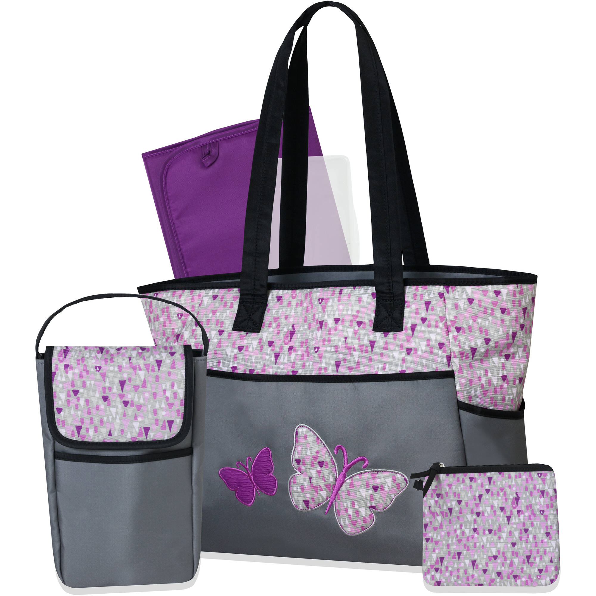 Tender Kisses Sorbet 3 Piece Diaper Bag Set with Bonus Bottle Bag