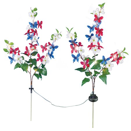 Solar Patriotic Floral Yard Stakes with Adjustable Branches - Set of 2, Red, White and Blue Flowers and Butterfly Accents