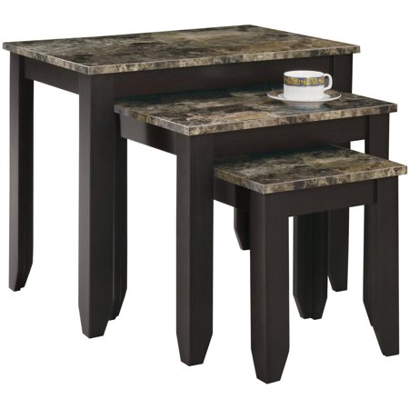 Maple Nesting Table (Monarch Nesting Table 3Pcs Set / Cappuccino Marble)