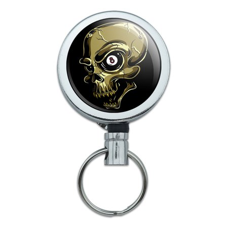 Eight Ball Skull Billiards Pool Retractable Belt Clip Badge Key Holder (Skull Belt)