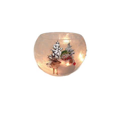 """Stony Creek - Frosted Glass - 7"""" Oval Lighted Vase - Snowman & Moose"""