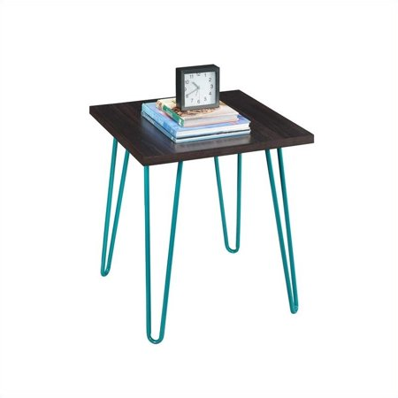 Espresso Round End Table (Ameriwood Home Owen Retro End Table, Espresso/Teal)