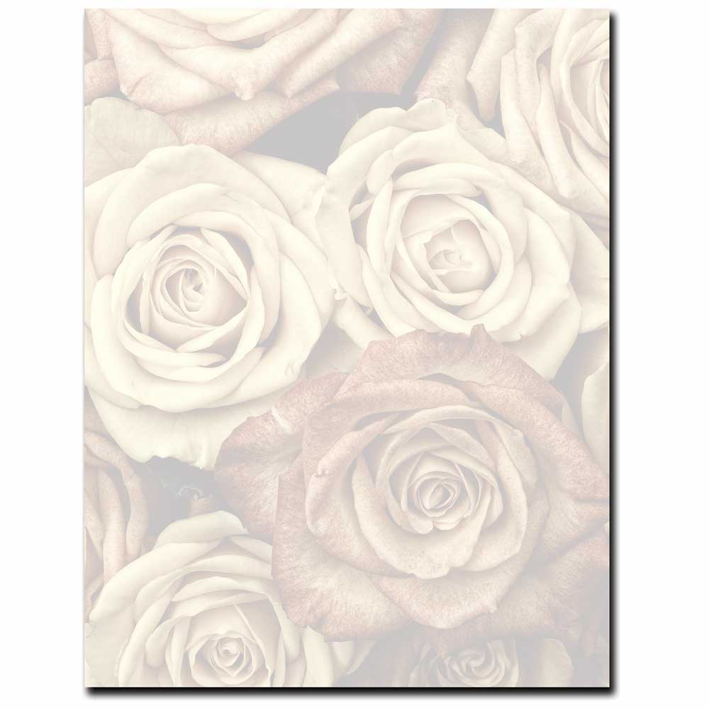 Antique Roses Letterhead Printer Paper, 80 Sheets