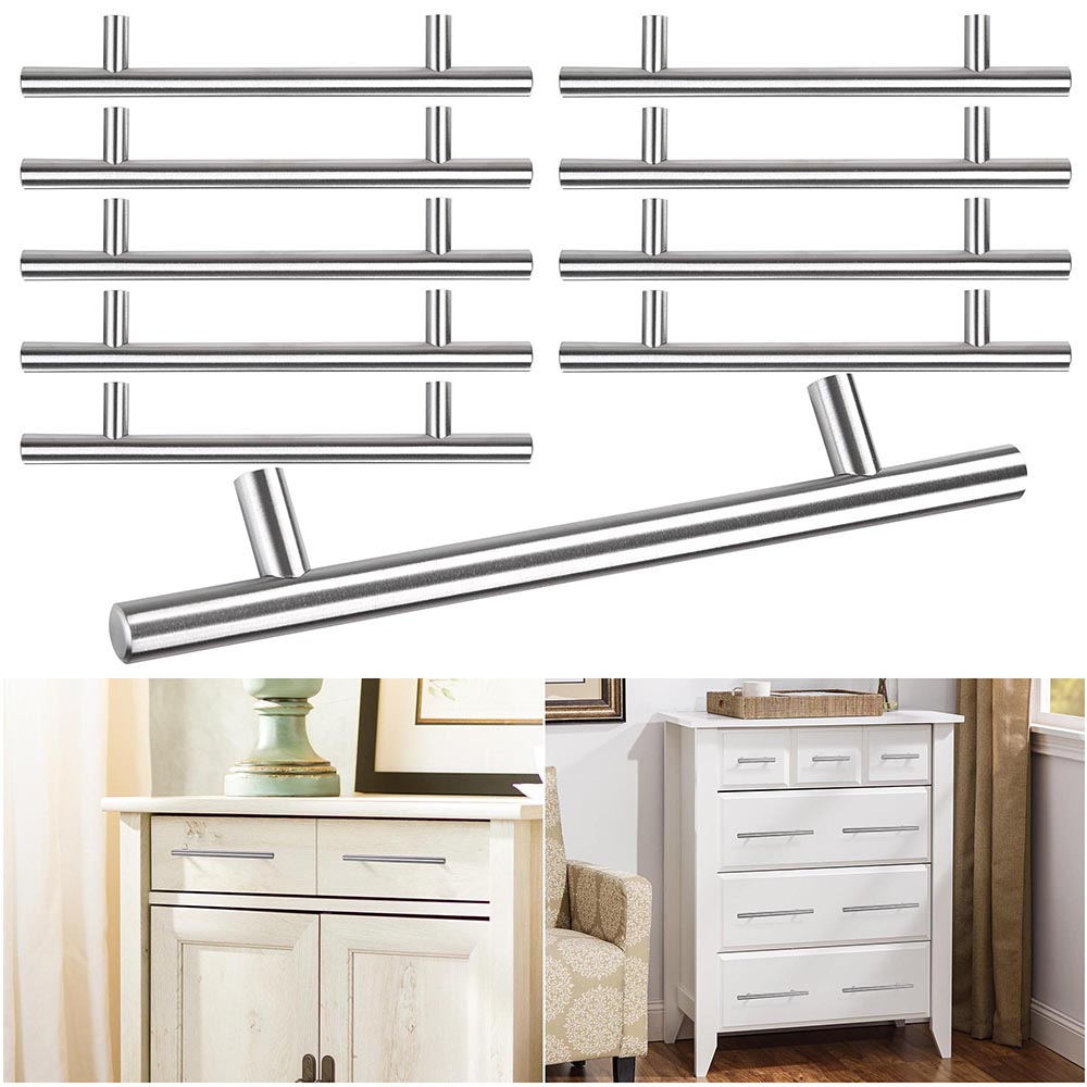 Yescom 10 Pack 4 6 8 T Bar Brushed Stainless Steel Kitchen Cabinet Door Handles Hole Center Cupboard Drawer Pulls
