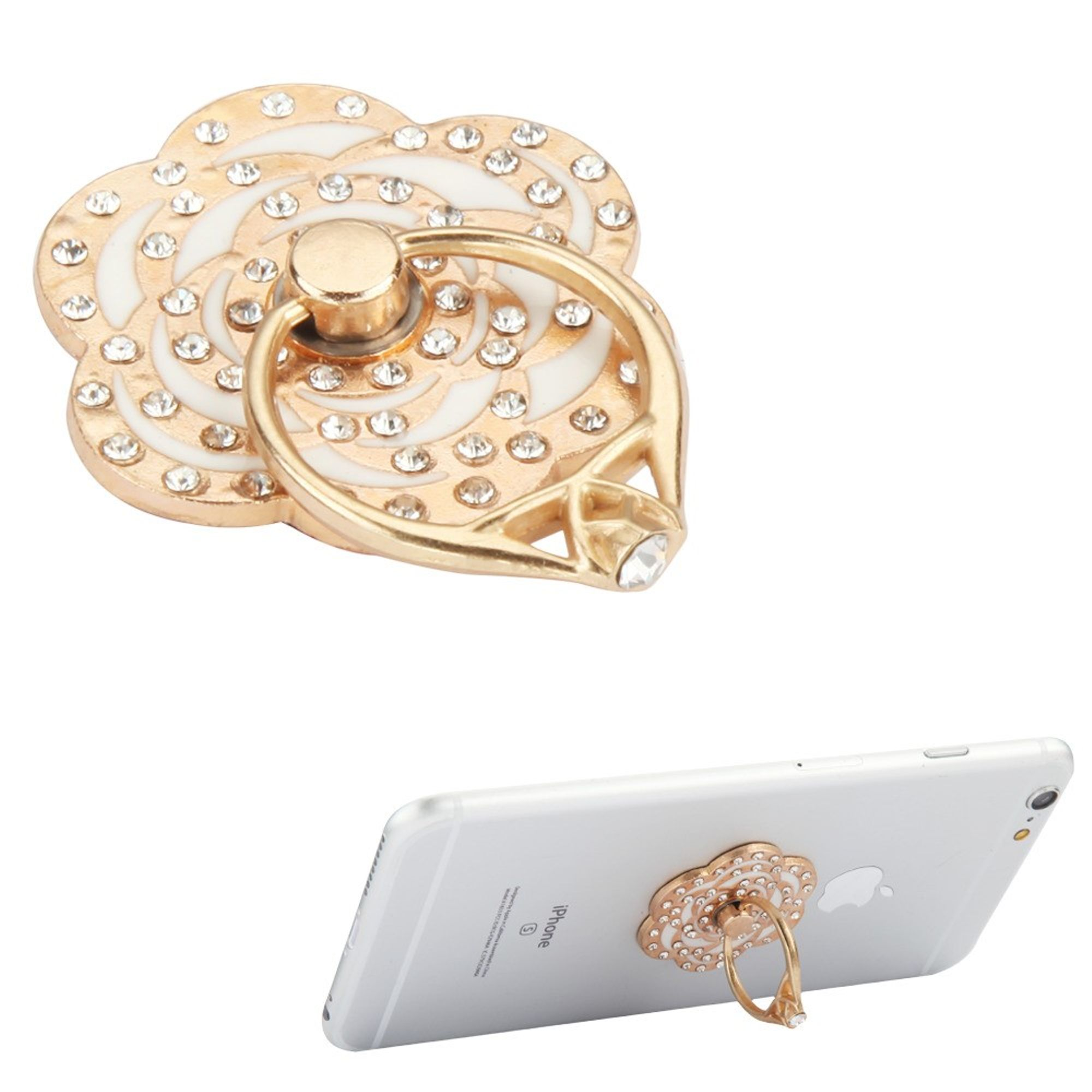 Insten Universal Flower Diamond Finger Grip Rotating Ring Stand Holder for Mobile Phones iPhones Tablets iPads - White