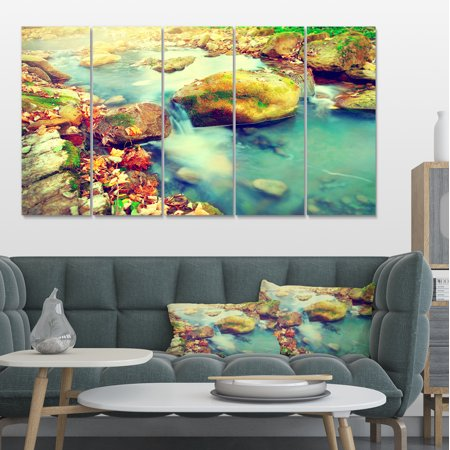 Mountain River with Stones - Large Seashore Canvas Wall Art - image 4 of 4