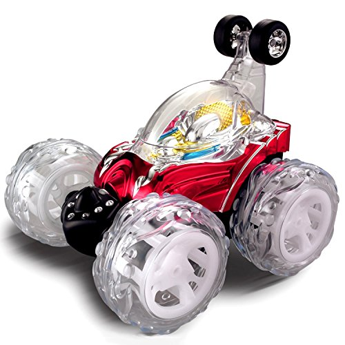 Top Race Remote Control Car Cyclone Twister RC Stunt Car with LED Lights and Music - RED - 27Mhz