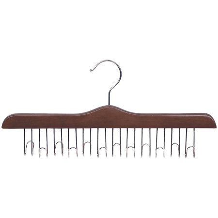 Hanger Walnut Lacquered (Wooden Belt Hanger with Walnut Finish, Accessory Hanger with 12 loops and Polished Chrome Hardware, Box of 1 by International Hanger )