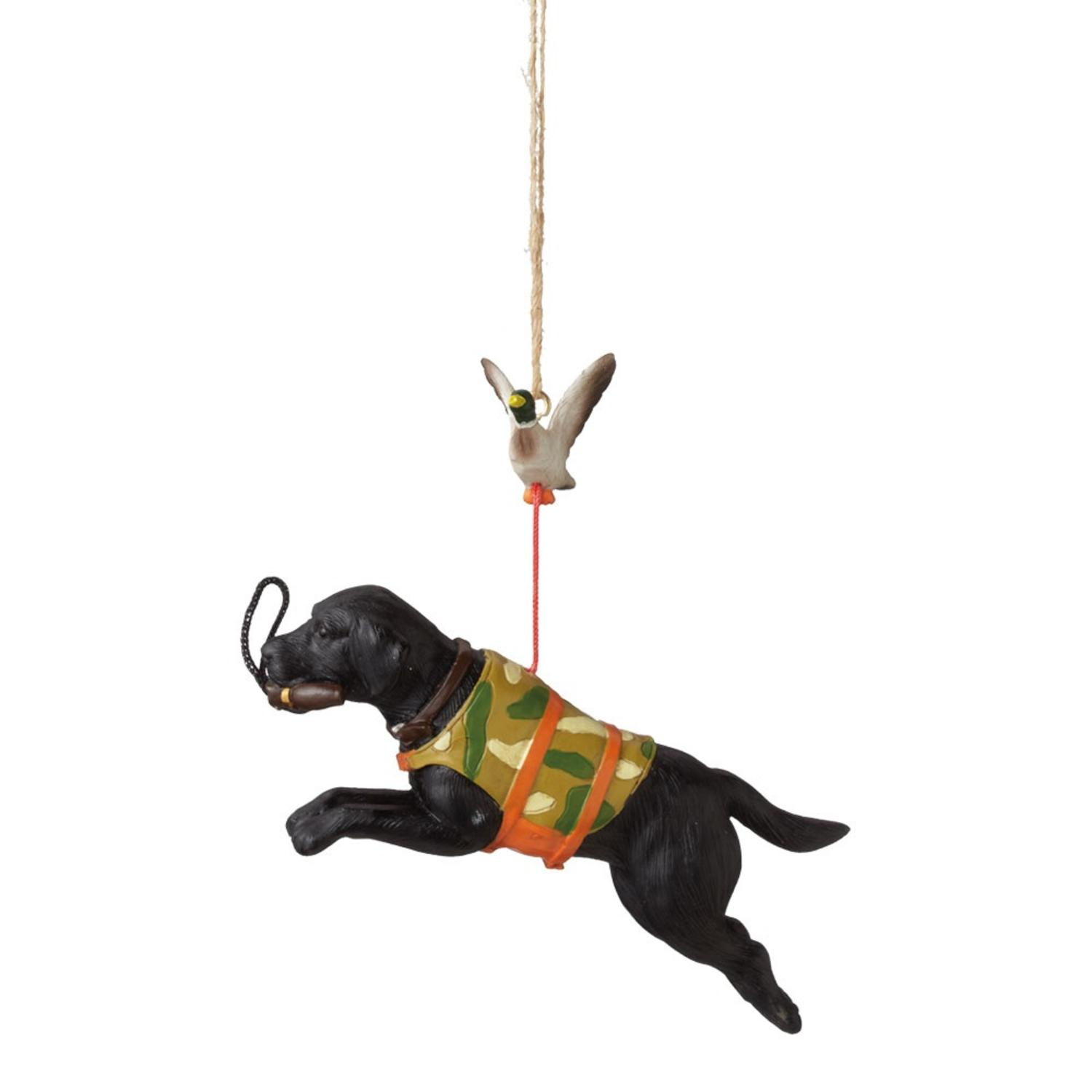 3 75 Black Labrador Retriever Hunting Dog With Duck Christmas Ornament
