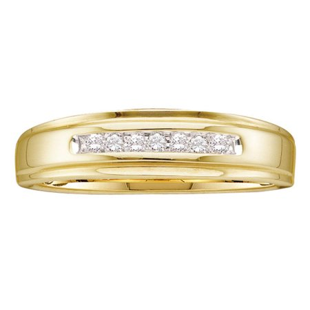 14kt Yellow Gold Mens Round Diamond Channel-set Wedding Anniversary Band Ring 1/12 Cttw 14k Gold Diamond Wedding Ring