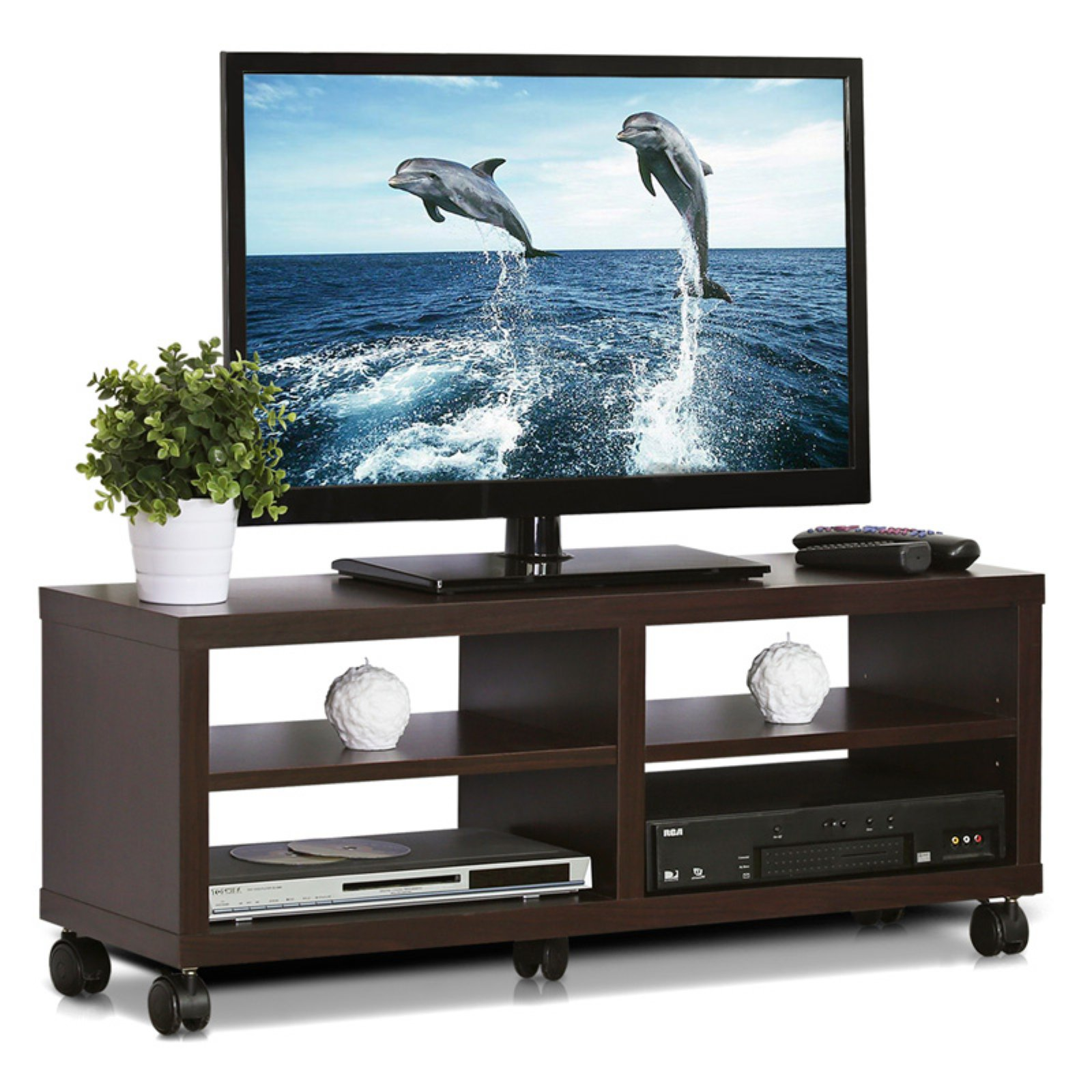 Furinno Indo Tier Low Rise Tatami Espresso TV Entertainment Stand with Casters