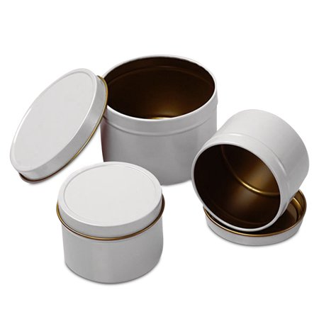 24ea - 4 Oz White Deep Round Tin Can-Pkg by Paper Mart ()