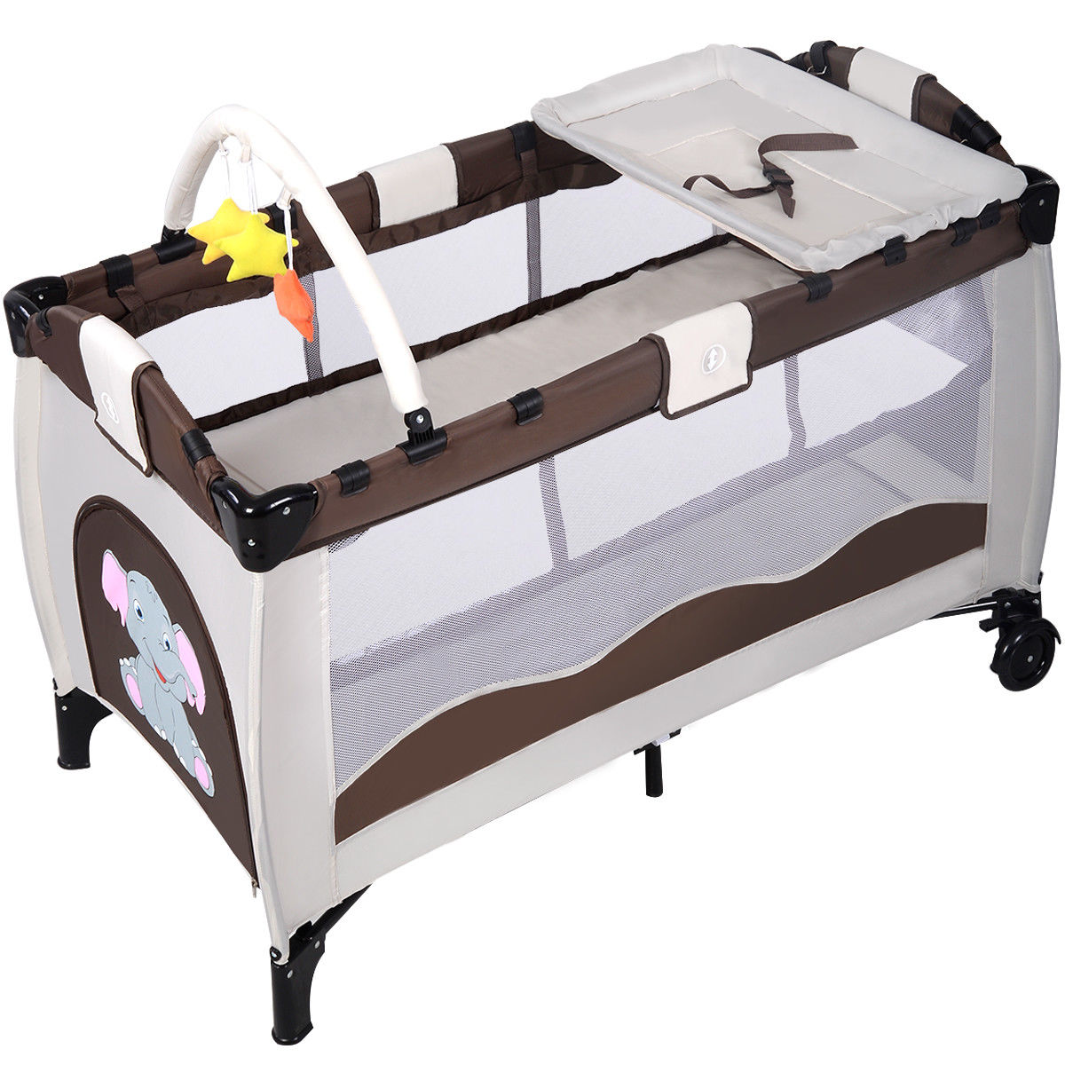 """GHP 48""""x26""""x30"""" Coffee Steel Oxford Fabric Cloth 2-Layer Travel Baby Portable Crib by Globe House Products"""