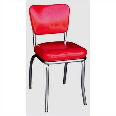 Pemberly Row Chrome Diner Dining Chair In Ed Ice Red Canada
