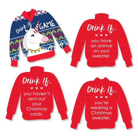 Drink If Game - Wild and Ugly Sweater Party - Holiday and Christmas Animals Party Game - 24 - Christmas Gift Games