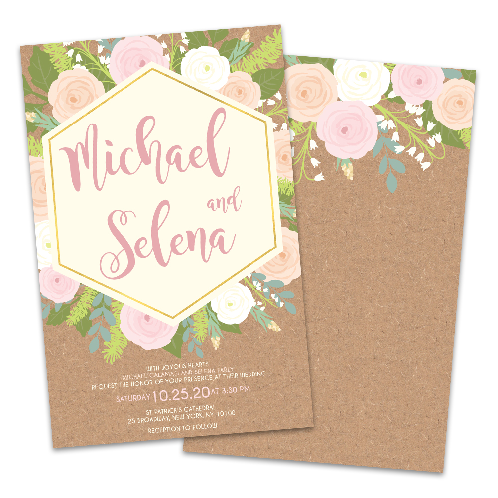 Personalized Floral Explosion Wedding Invitations