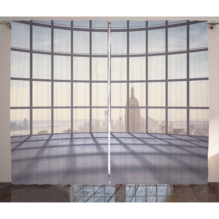 Modern Decor Curtains 2 Panels Set, Big Office Windows Lattice Square Lines Apartment Urban City Skyscapers, Window Drapes for Living Room Bedroom, 108W X 90L Inches, Pale Purple Beige, by Ambesonne
