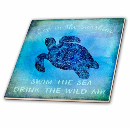 - 3dRose Blue Underwater Turtle Illustration With Typography - Ceramic Tile, 4-inch