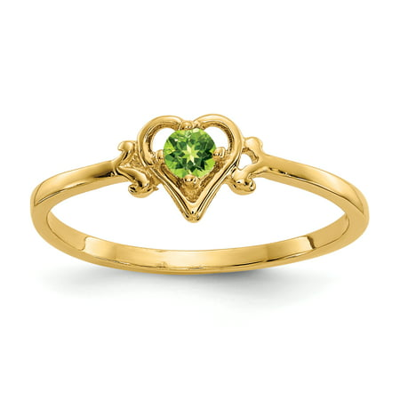14k Yellow Gold Green Peridot Birthstone Heart Band Ring Size 7.00 S/love August Augusta Yellow Green