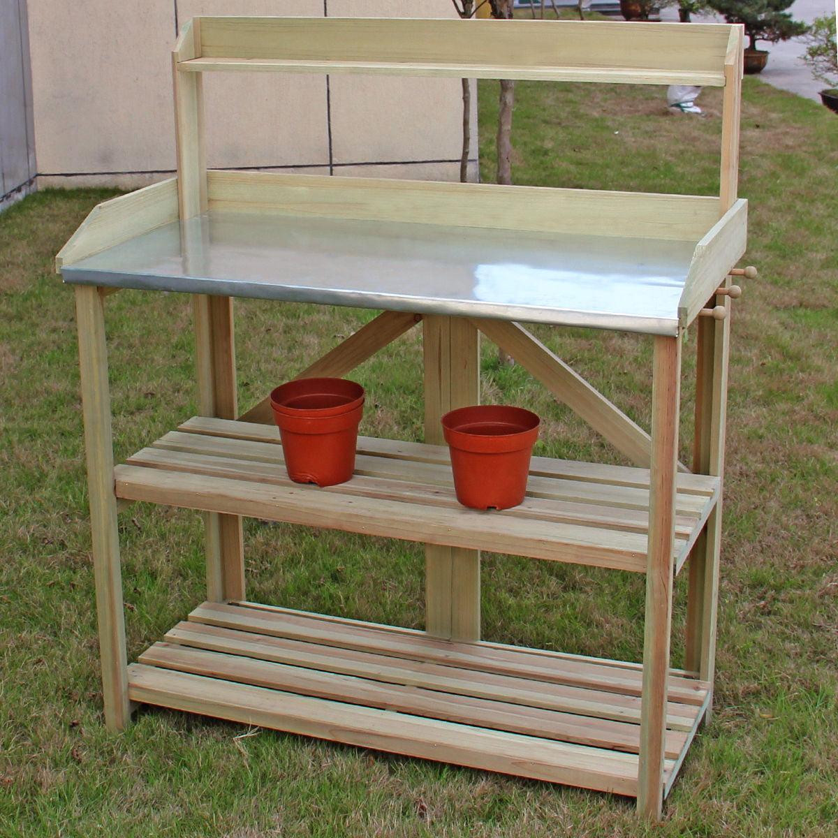 Costway Outdoor Garden Wooden Potting Work Bench Station Planting Workbench W/ 3 Shelf