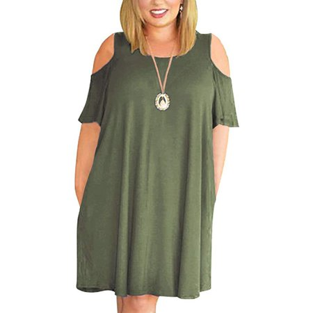 Pleated Empire - Women's Half Sleeve Empire Waist Plain Pleated Loose Swing Casual Dresses Knee Length
