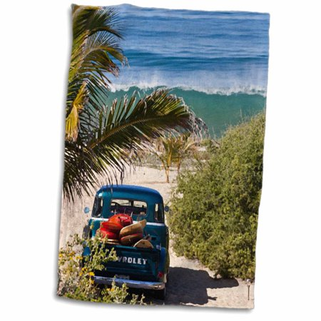 Woody Surfboard - 3dRose Classic Woody with surfboards on a tropical island beach - Towel, 15 by 22-inch