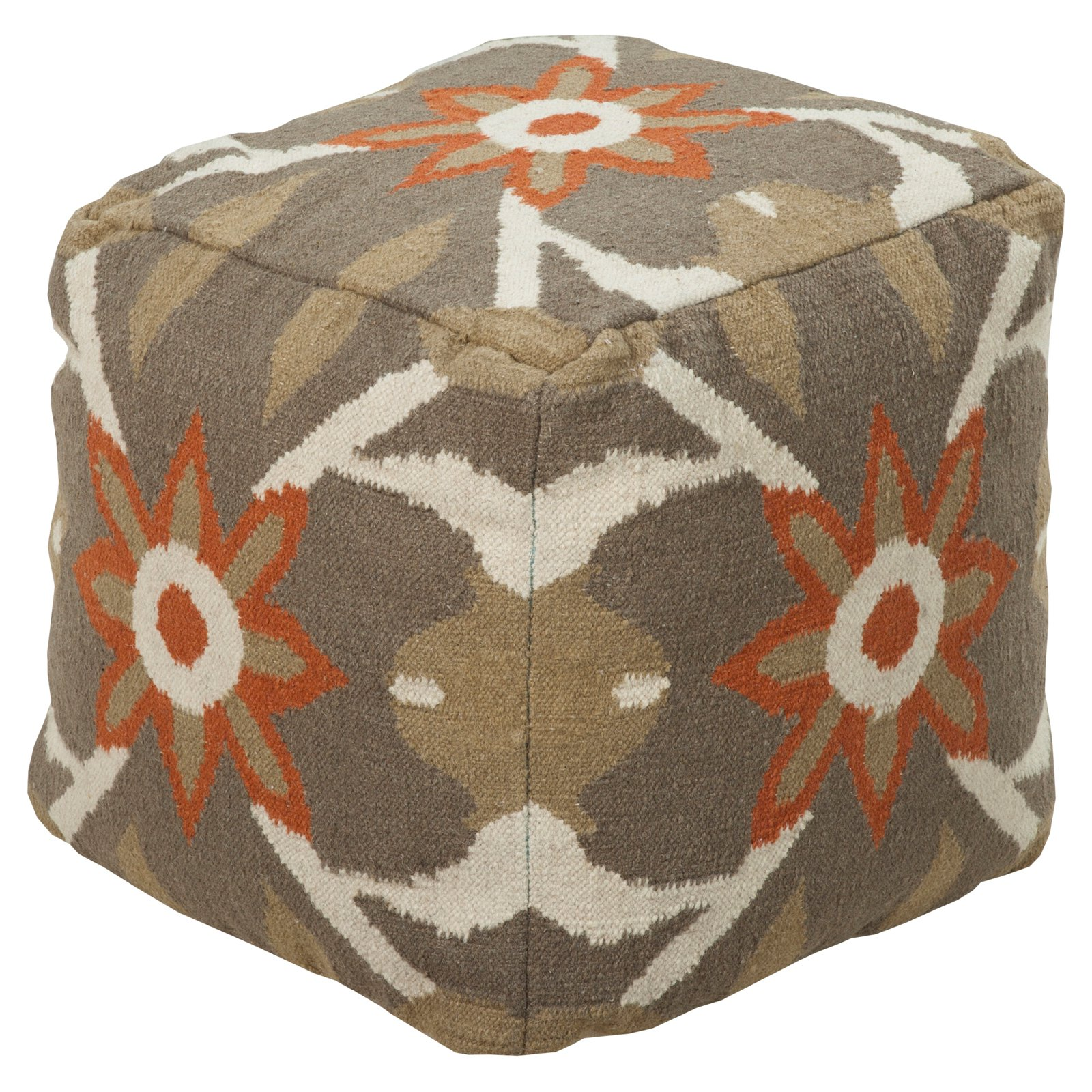 Surya 18 in. Cube Wool Pouf Mossy Gold by Surya