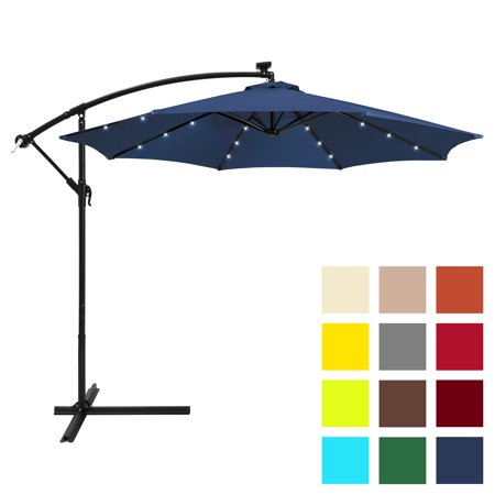 Best Choice Products 10ft Solar LED Offset Hanging Market Patio Umbrella w/ Easy Tilt Adjustment, Polyester Shade, 8 Ribs for Backyard, Poolside - Navy Blue