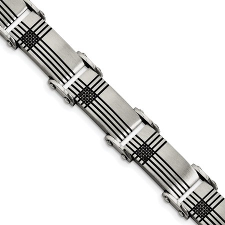 Stainless Steel Black Plated Diamonds 8.5 Inch Bracelet Man Link Men Fashion Jewelry Gift For Dad Mens For Him - image 6 de 6