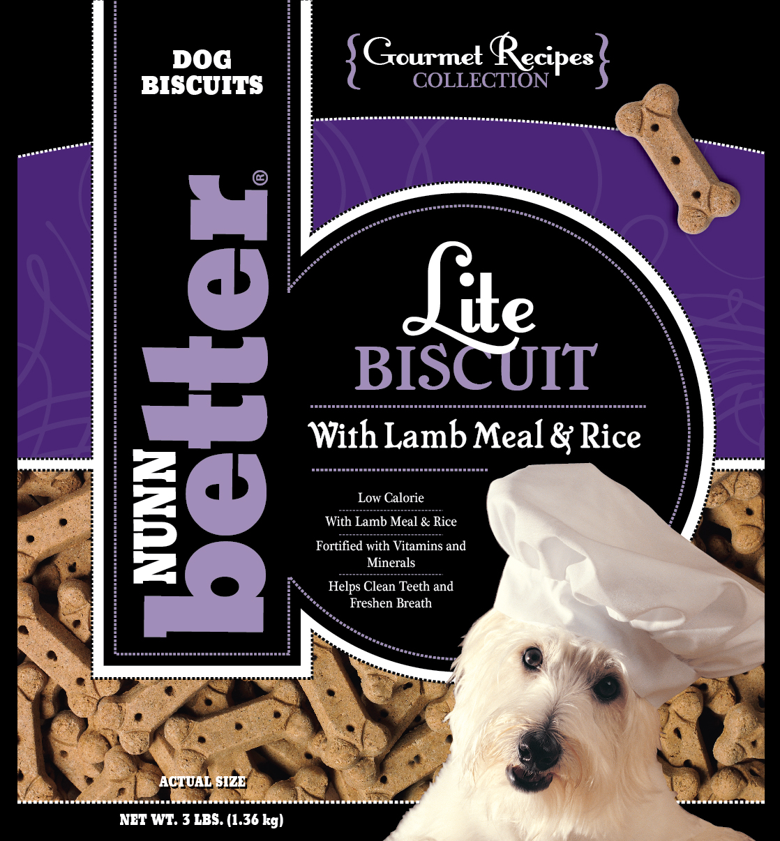Nunn-Better Gourmet Lite Lamb Meal & Rice Dog Biscuit Treats 3 Lb Bag Case of 8