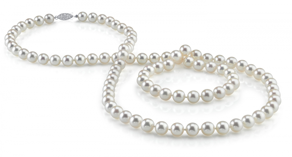 """14K Gold 6.5-7.0mm Hanadama Japanese Akoya Saltwater White Cultured Pearl Necklace, 51"""" Rope Length by The Pearl Source"""