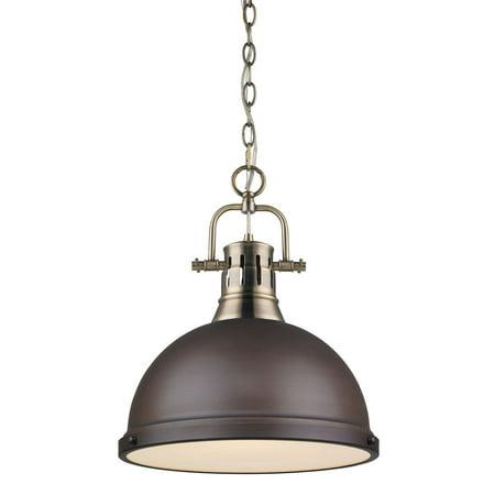 Golden Lighting 3602-L-RBZ Duncan 1 Light Indoor Pendant - 14 Inches Wide