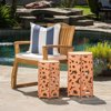 Wayne Outdoor Iron Accent Tables, Set of 2, Antique Orange