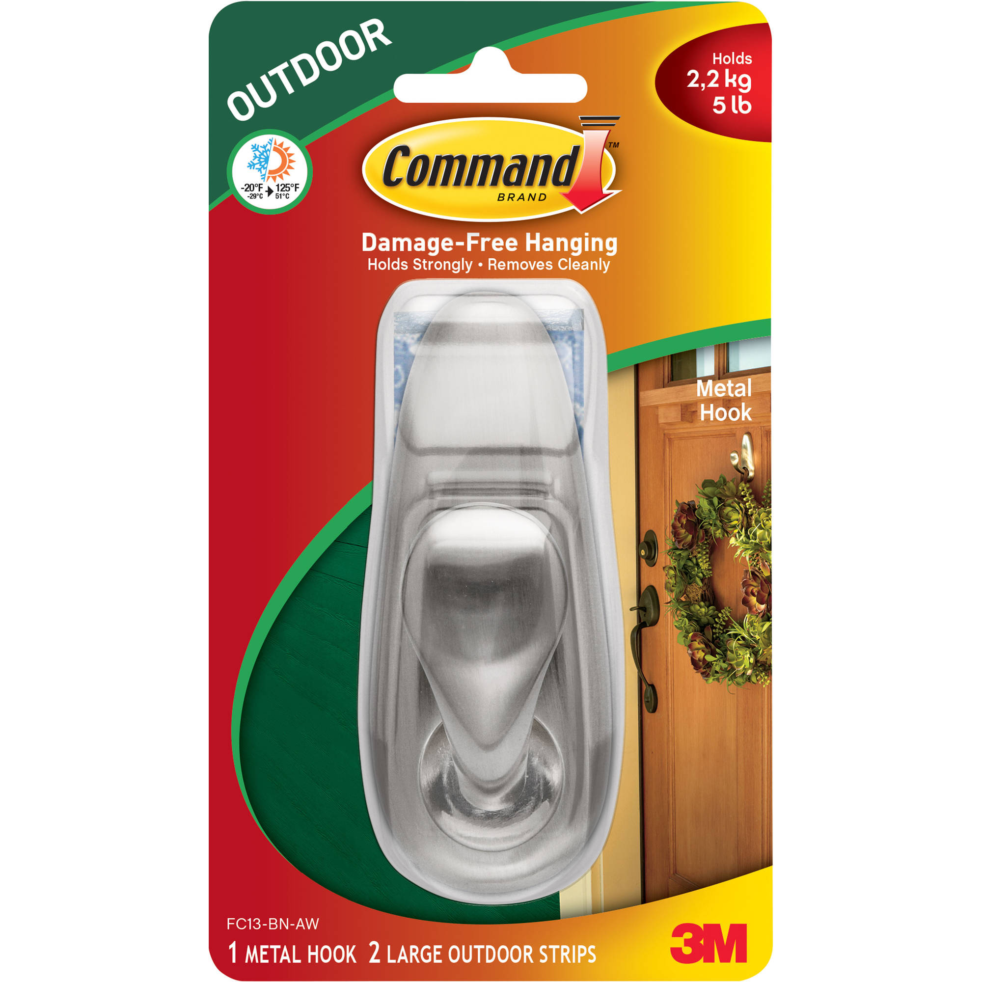 Command Outdoor Forever Classic Metal Hook, Large, 1 Hook, 2 Strips/Pack    Walmart.com