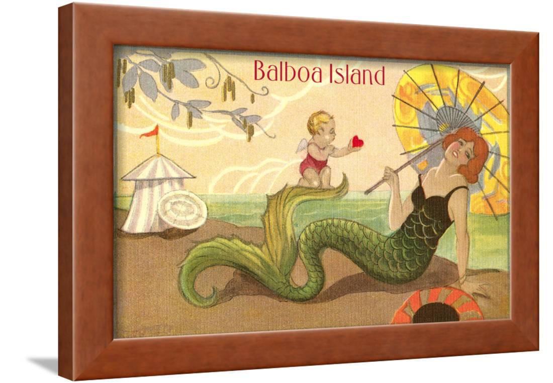 Balboa Island Mermaid Framed Print Wall Art - Walmart.com