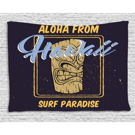 Paradise Surf Sign - Tiki Bar Decor Tapestry, Aloha From Hawaii Surf Paradise Retro Style Tiki Statue Print, Wall Hanging for Bedroom Living Room Dorm Decor, 60W X 40L Inches, Indigo Apricot Light Blue, by Ambesonne