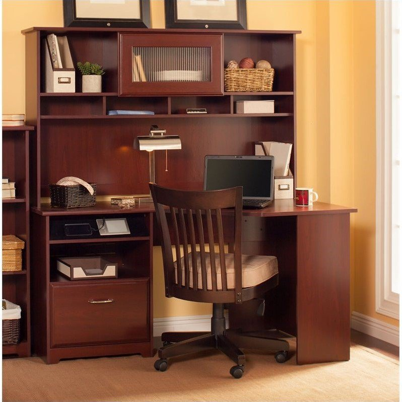 "Bush Cabot 60"" Corner Computer Desk with Hutch in Harvest Cherry"