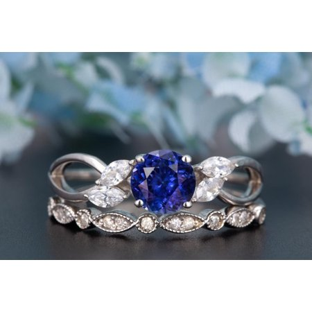 - Art Deco 1.5 Carat Trillion Cut Real Sapphire and Diamond Bridal Wedding Ring Set with Engagement Ring and Wedding Band in 18k Gold Over Silver