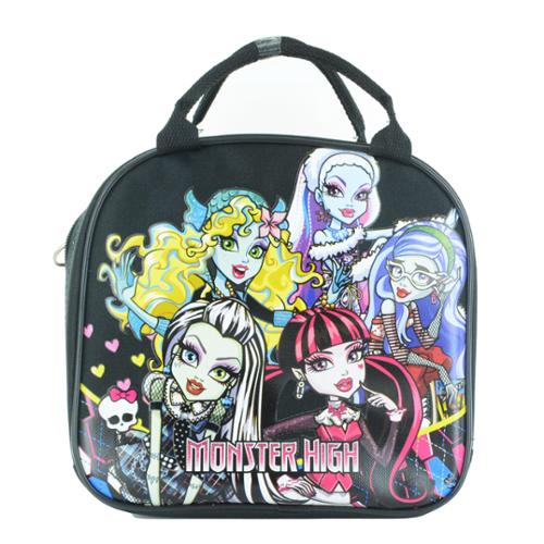 Monster High Insulated Lunch Bag with Adjustable Shoulder Strap, Water Bottle Black