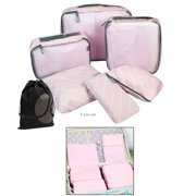 6 Piece Bundle Stripe Pattern Packing Cube Set for Luggage, Storage, Travel with Bonus Drawstring Bag