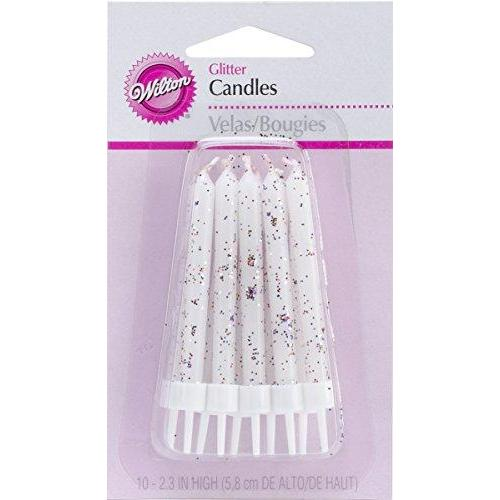 Wilton Glitter Candles with Holders, 2.3-Inch, White, 10-Pack