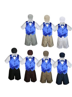 5pc Boy Toddler Formal Royal Blue Vest Bow Tie Black Khaki Brown Hat Shorts S-4T