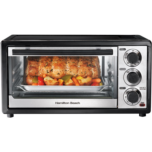 Hamilton Beach 6-Slice Toaster Oven, Black and Stainless Steel, 31508