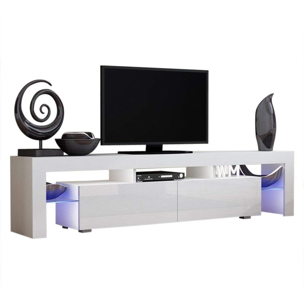 """Solo 200 Modern LED TV Stand, Fits up to 90"""" TV, White/Violet"""