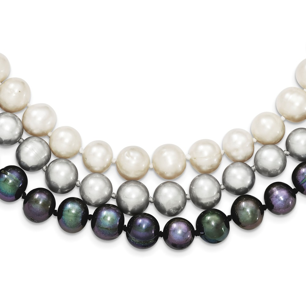 Sterling Silver 8-8.5mm Freshwater Cultured Pearl White Black Grey Necklace 17 Inch by Jewelryweb