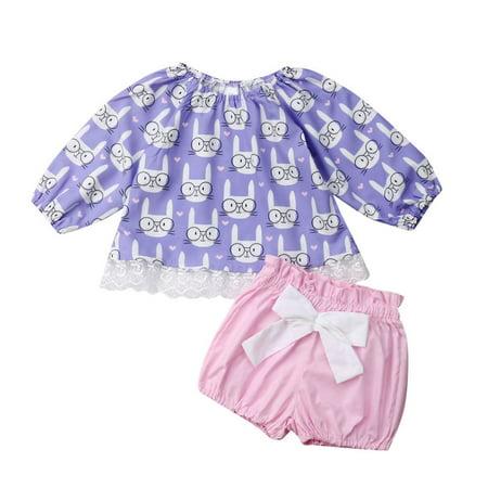 XIAXAIXU Toddler Newborn Baby Girls Easter Rabbit Clothes Long Sleeve Tops + Shorts Pants Outfit Sunsuit Summer Set - Rabbit Outfit