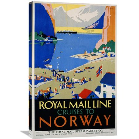 Global Gallery Royal Mail Cruises   Norway By Daphne Padden Vintage Advertisement On Wrapped Canvas