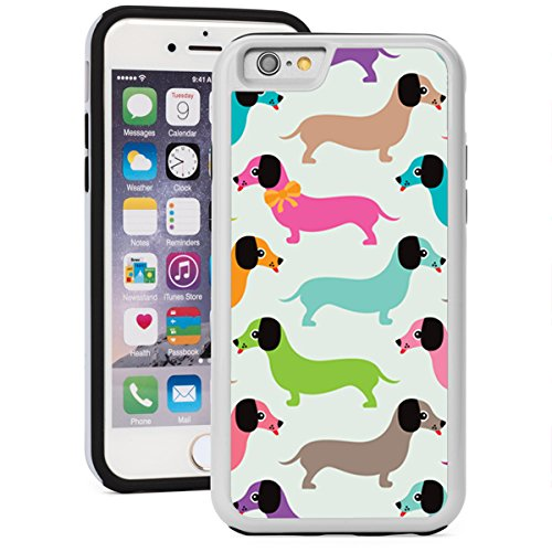 For Apple iPhone SE Shockproof Impact Hard Soft Case Cover Colorful Dachshund Dogs Retro Pattern (White)